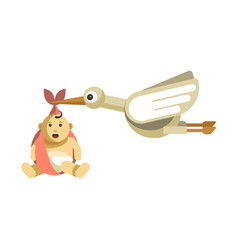 Funny stork with big eyes carries cute baby vector
