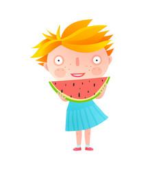 Girl eating watermelon vector