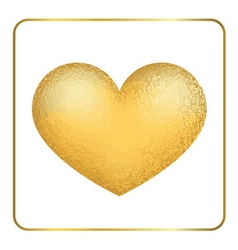 Gold heart 3d golden grunge vector
