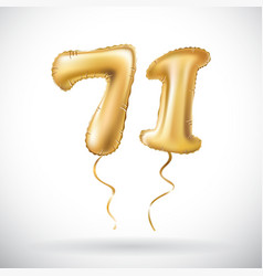 Golden number 71 seventy one metallic balloon vector