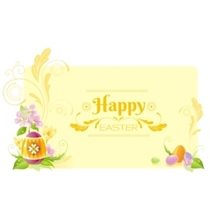 Happy easter banner border spring symbols - vector