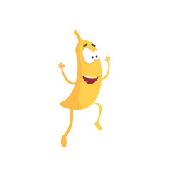 happy smiling banana cartoon fruit character vector image vector image