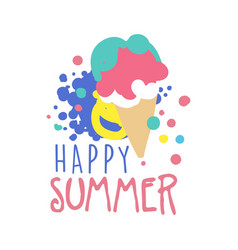 Happy summer logo template colorful hand drawn vector