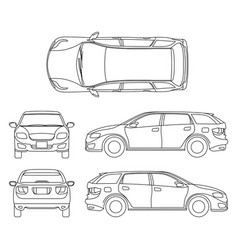 Line drawing of car white vehicle computer vector