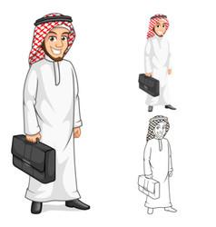 Middle Eastern Man Businessman Holding Bag Cartoon vector image