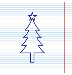 New year tree sign navy line icon on vector