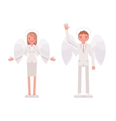 Pair of angels man and woman vector