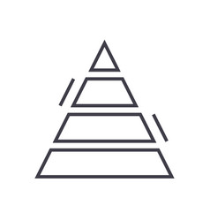 pyramid chart line icon sign vector image