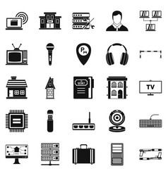 Recorder icons set simple style vector
