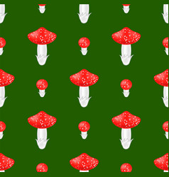red mushroom seamless pattern vector image