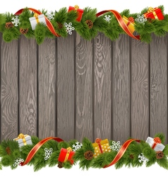Seamless christmas old board with gifts vector