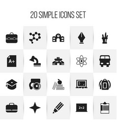 set of 20 editable school icons includes symbols vector image vector image