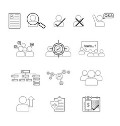 set of human resource line icon editable stroke vector image