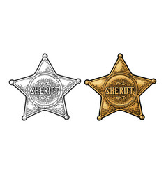 sheriff star vintage black and color vector image