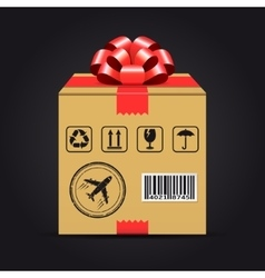 Shipping cardboard box with red bow vector