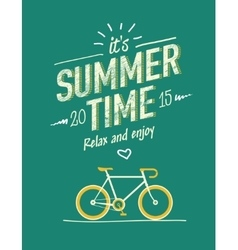 summer time typography poster with flat retro vector image vector image