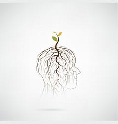 Tree of green idea shoot grow on human head vector image