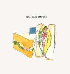 tuna salad sandwich sketch vector image