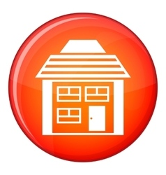 Two-storey house with sloping roof icon vector