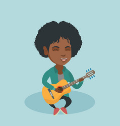 young african woman playing the acoustic guitar vector image vector image