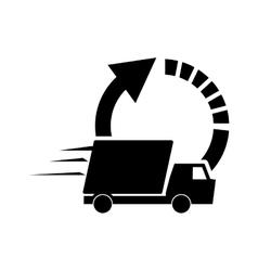 circle arrow and truck van icon vector image