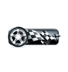 Racing banner with car wheel vector image