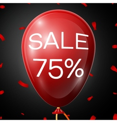 Red baloon with 75 percent discounts over black vector