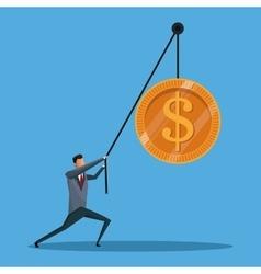 business man conecpt lift coin money vector image