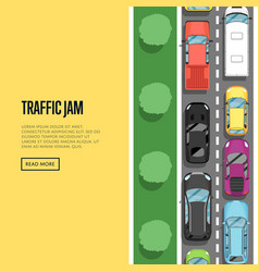 Traffic jam in rush hour poster in flat style vector