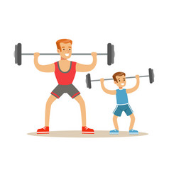 smiling man and boy lifting dumbell dad and son vector image