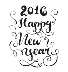 Happy new year card black and white vector