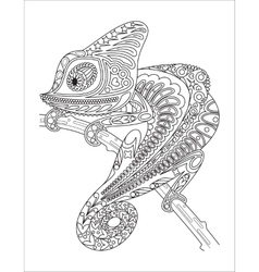 Monochrome chameleon coloring page black over vector