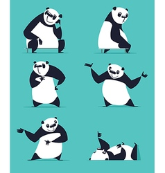 Cartoon panda set vector