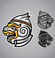 monkey head linethai emblem logo vector image