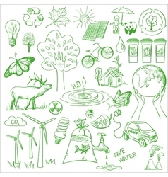 Ecology and recycle doodle icons set vector