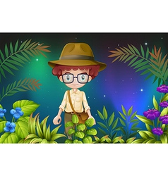 A boy with an eyeglass and a hat vector image vector image
