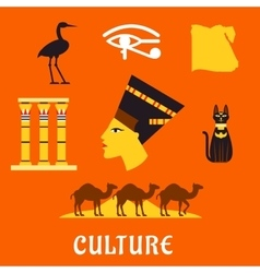 Ancient Egypt travel and culture flat icons vector image vector image