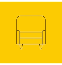 armchair in flat outline vector image