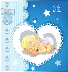 Blue delicate baby shower card with sleeping baby vector image
