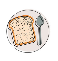 Bread slice with spoon on dish in watercolor vector