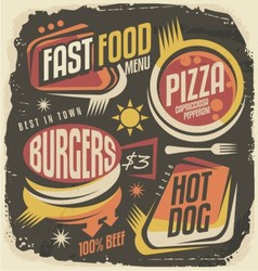 Burger pizza hot dog unique labels on black chal vector