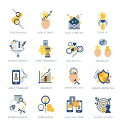 Business analysis icons set vector