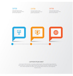 Business icons set collection of presentation vector