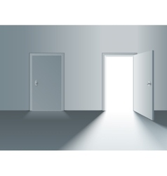 Closed and open door vector image vector image
