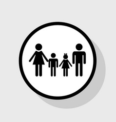 Family sign flat black icon in white vector