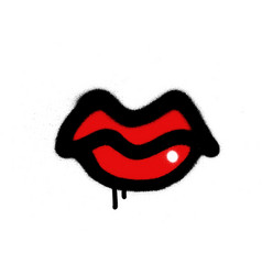 Graffiti sprayed red lips with gloss over white vector