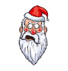 Indignant santa head vector