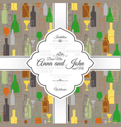 invitation card with bar colorful pattern vector image vector image