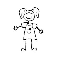 Kid girl draw vector