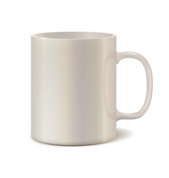 Light pearl ceramic mug for printing logo vector